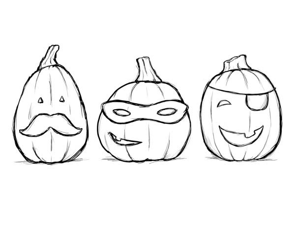 Pumpkins, : Three Cosplay Pumpkins Coloring Page