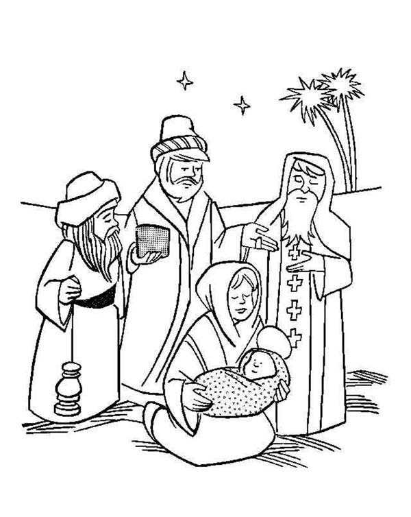 Baby Jesus, : Three Wise Men Christmas in Baby Jesus Nativity Coloring Page