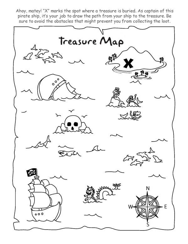 Treasure Map, : Treasure Map for Buried Treasure Coloring Page