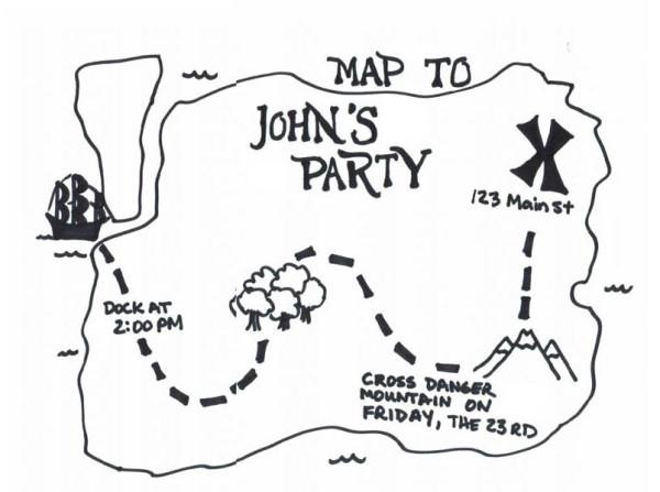 Treasure Map, : Treasure Map for John's Party Coloring Page
