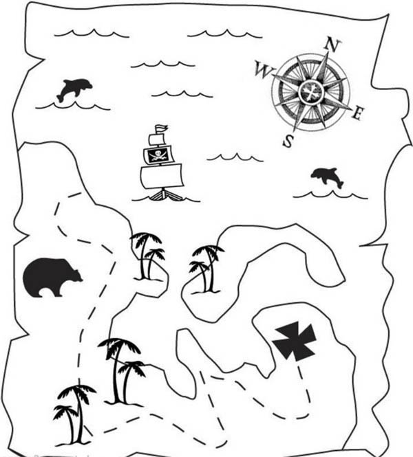Treasure Map, : Treasure Map of Great Pirate Treasure Coloring Page