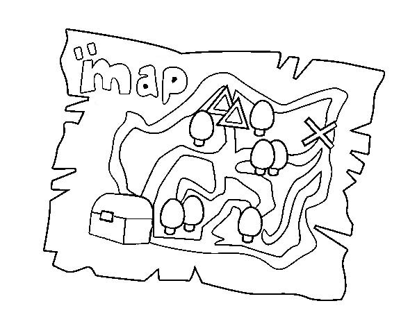 Treasure Map, : Treasure Map of Treasure Hunters Coloring Page