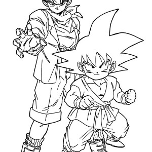 trunks and goku in dragon ball z coloring page - Coloring Pages Dragon Ball Goku