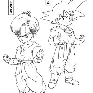 trunks and son gohan in dragon ball z coloring page