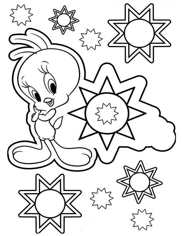 Tweety Bird, : Tweety Bird and Stars Coloring Page