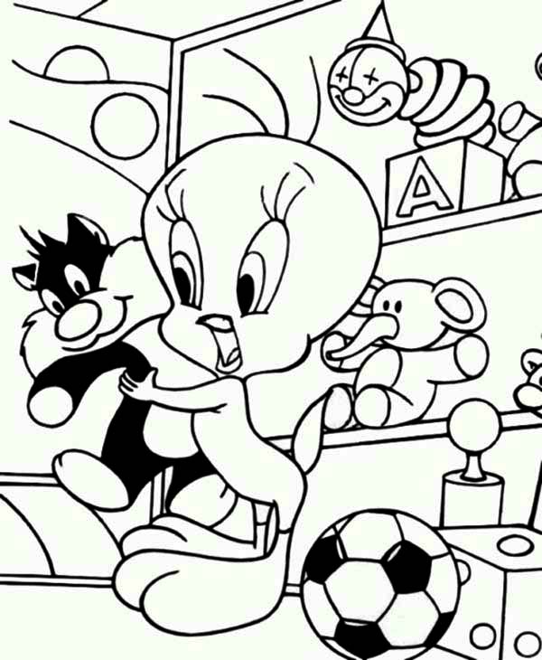tweety bird and sylvester doll coloring page