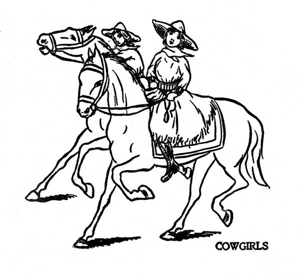 Cowgirl, : Two Cowgirl Riding Horse Coloring Page