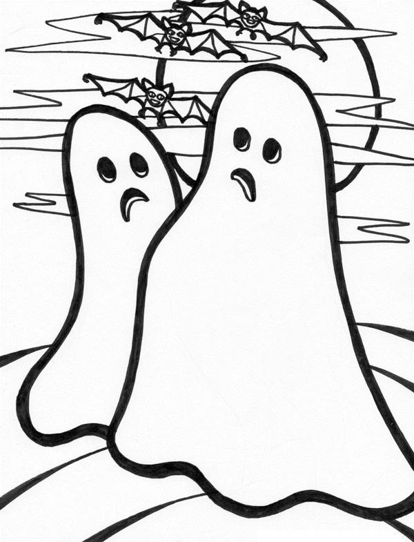 Ghost, : Two Hideous Ghost and a School of Bat Coloring Page