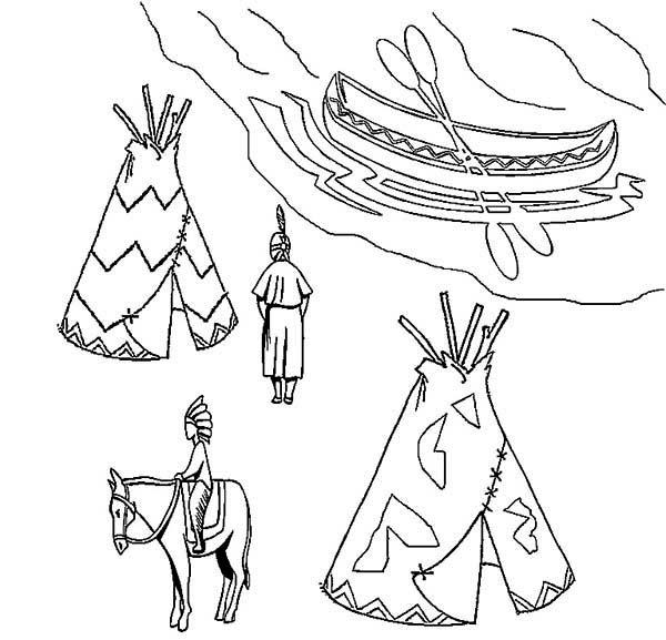 Native American, : Two Native American Teepee Ojibwe Birchbark Canoe Coloring Page