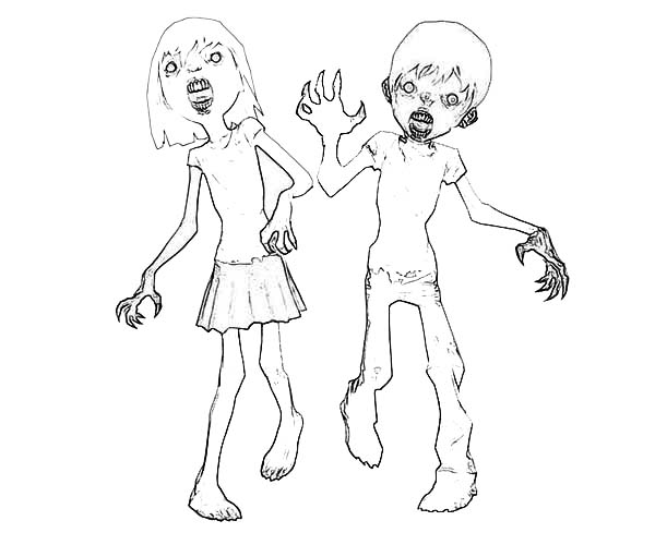 Zombie, : Two Zombie Kid Coloring Page