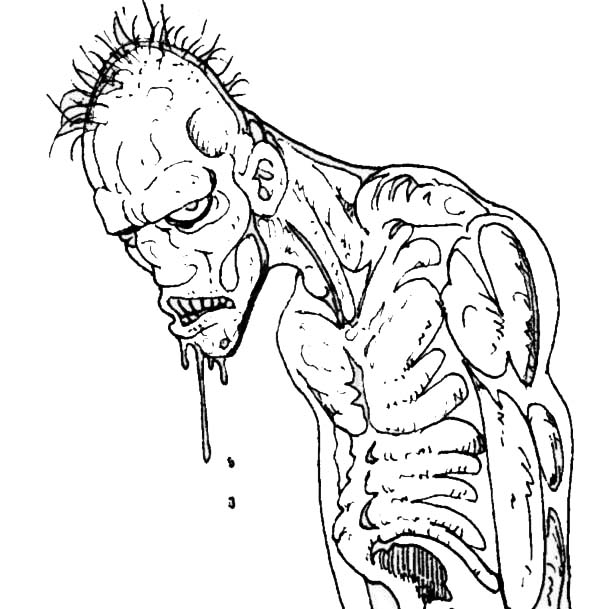 Zombie, : Ugly Zombie Coloring Page