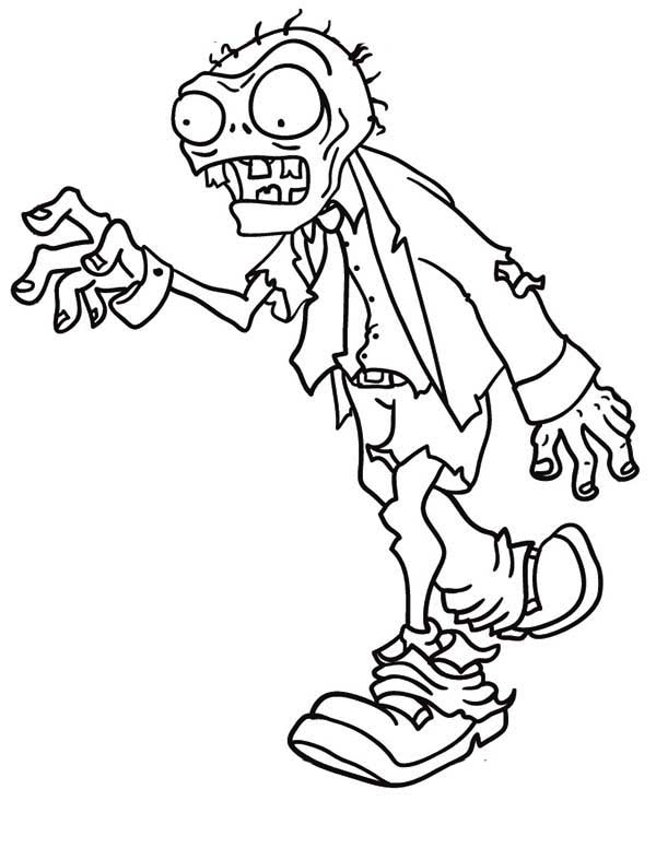 Zombie, : Walking Zombie Coloring Page