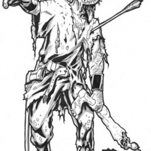 war warrior zombie coloring page