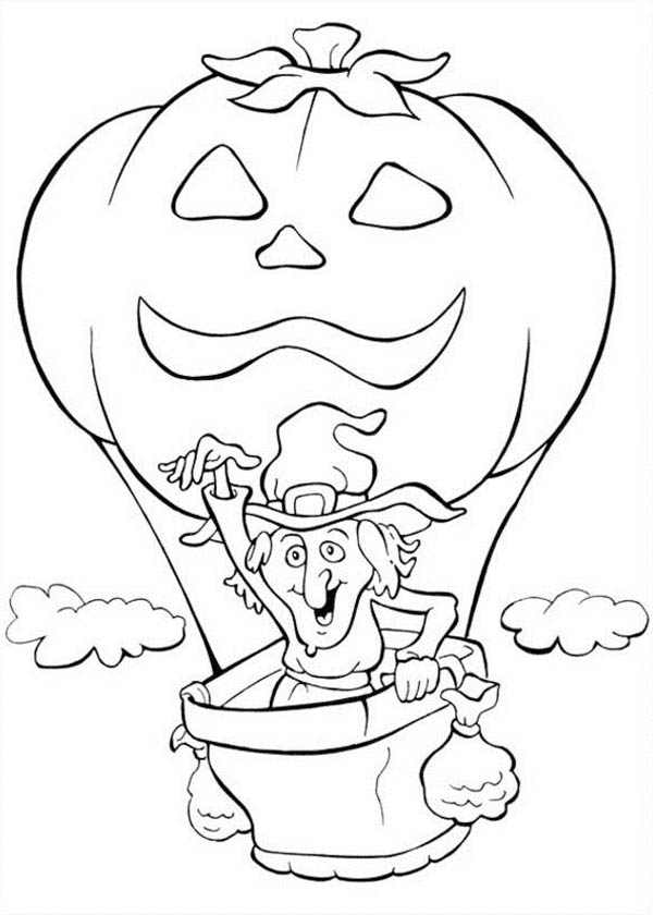 Pumpkins, : Witch Flying with Pumpkins Balloon Coloring Page