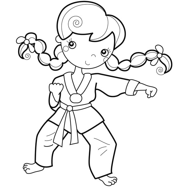 Karate Kid, : Young Girl Karate Kid Coloring Page