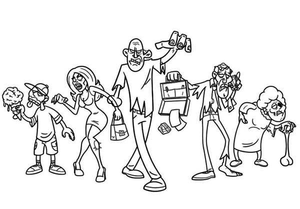 Zombie, : Zombie Assembled Coloring Page