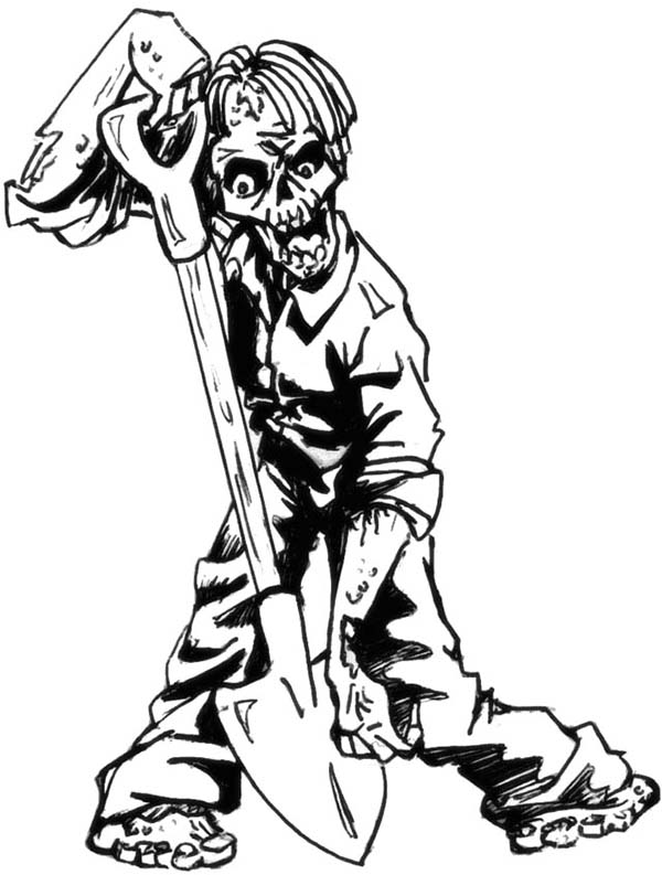 Zombie, : Zombie Burrowing with Shovel Coloring Page