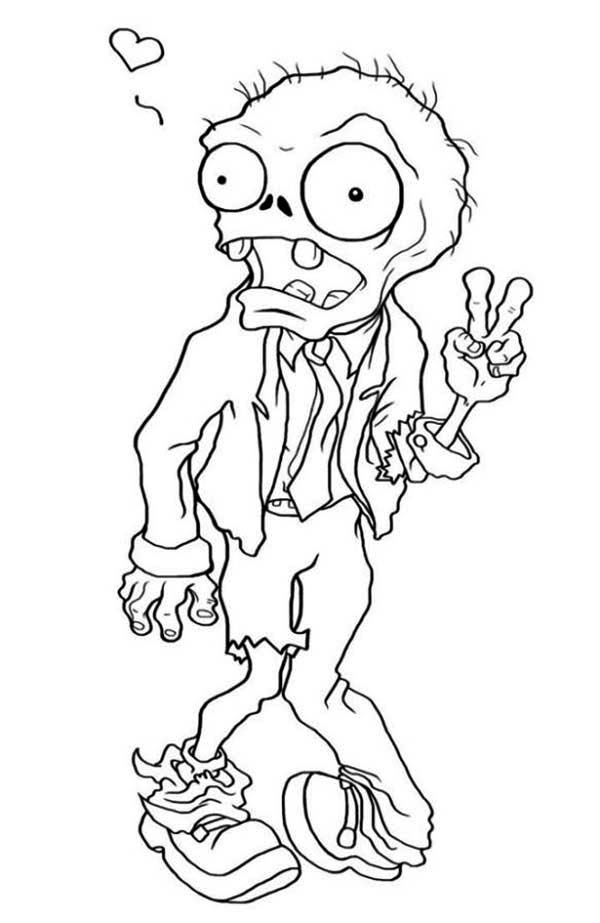 Zombie, : Zombie in Love Coloring Page
