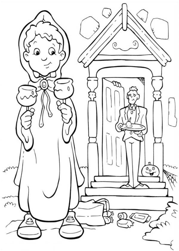 Funschool Halloween, : A Boy Got Some Candy from Frankenstein House in Funschool Halloween Coloring Page