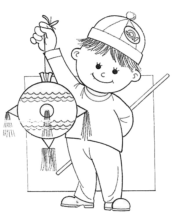 Pinata, : A Boy Holding Pinata and Wooden Stick Coloring Page