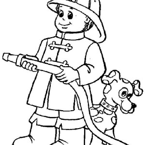 fireman run with water hose coloring page kids play color
