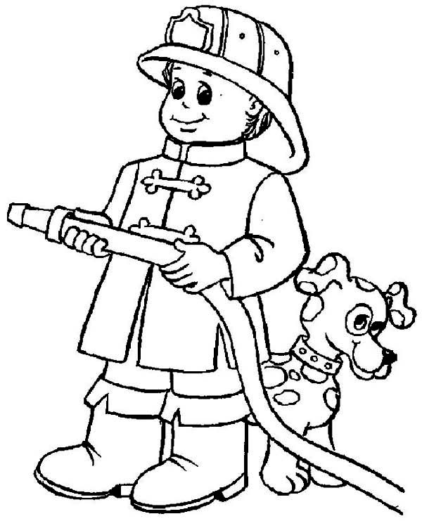 Fireman, : A Dog Hide Behind Fireman Coloring Page