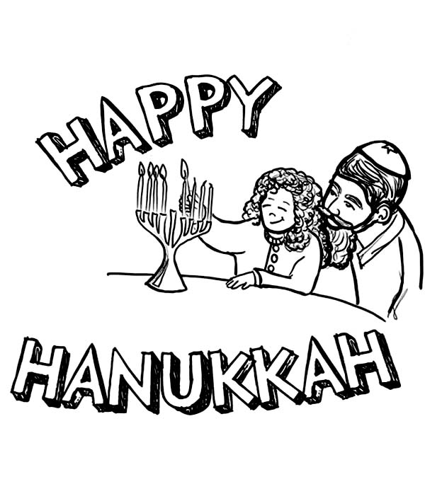 Chanukah, : A Family Celebrating Chanukah Coloring Page