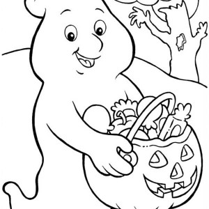 a ghost who love candy so much in funschool halloween coloring page