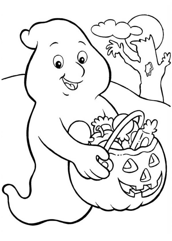Funschool Halloween, : A Ghost Who Love Candy so Much in Funschool Halloween Coloring Page