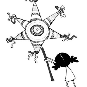 a little girl with star pinata coloring page