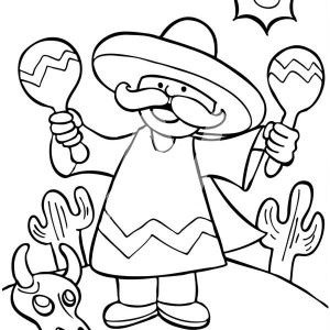 a mexican man shaking two maracas at mexican fiesta coloring page