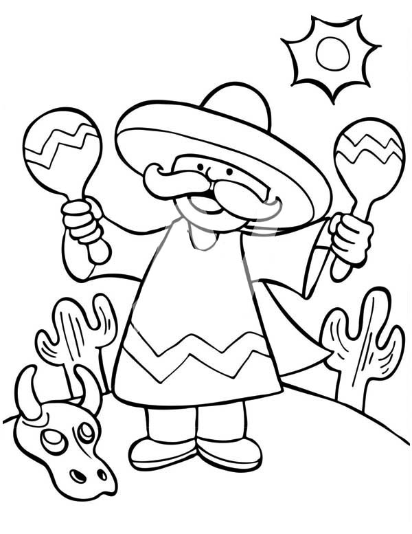 Mexican Fiesta, : A Mexican Man Shaking Two Maracas at Mexican Fiesta Coloring Page
