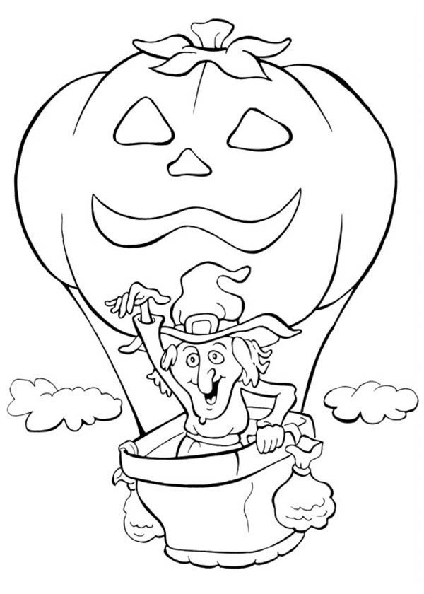 Funschool Halloween, : A Witch and Flying Pumpkin Balloon in Funschool Halloween Coloring Page