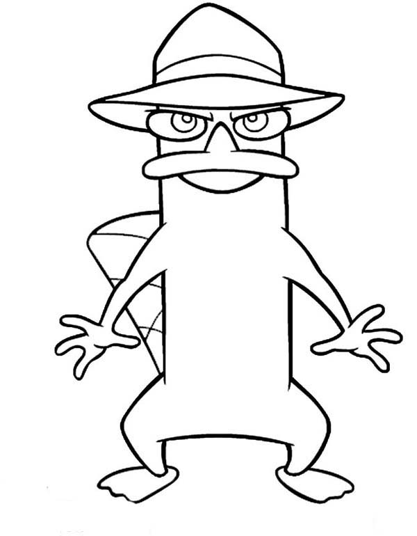 Phineas and Ferb, : Agent P Ready to Action in Phineas and Ferb Coloring Page