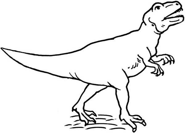 Allosaurus, : Allosaurus Calling for His Friend Coloring Page