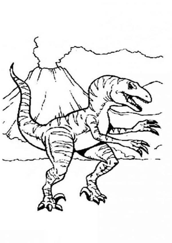 Allosaurus, : Allosaurus and Active Volcano Coloring Page