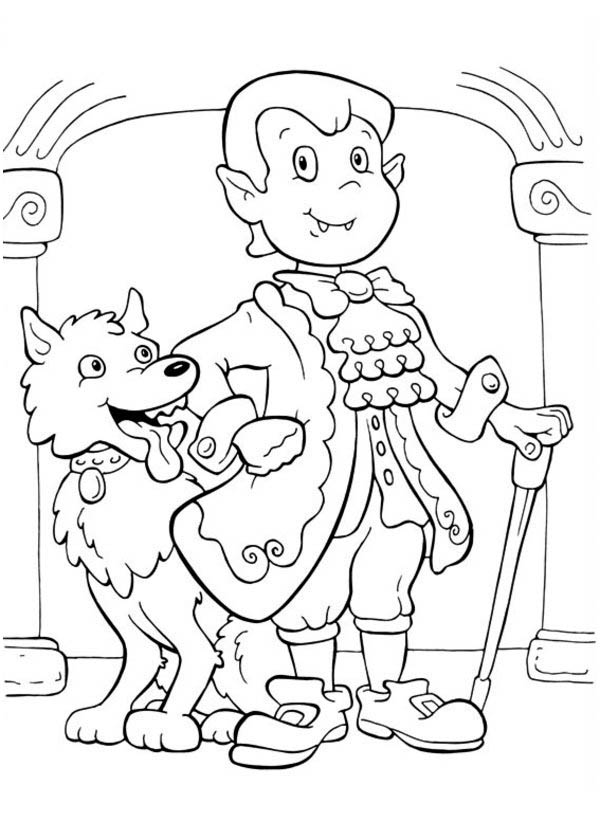 Funschool Halloween, : Amazing Dracula and Cute Werewolf in Funschool Halloween Coloring Page