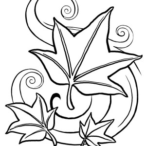 different leaves and maple leaf coloring page