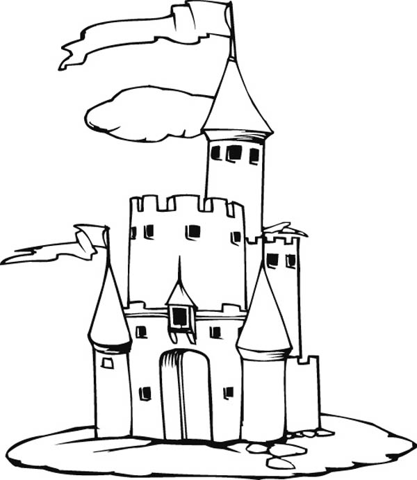 Medieval Castle, : Amazing Picture of Medieval Castle Coloring Page