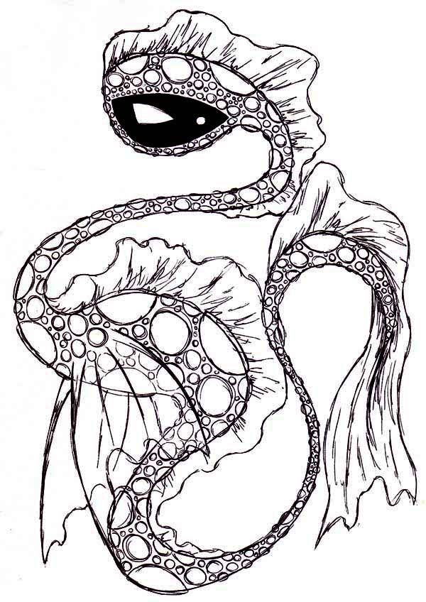 Sea Monster, : Amazing Picture of Sea Monster Coloring Page