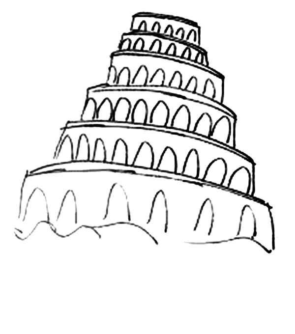 Tower of Babel, : Amazing Tower of Babel Coloring Page