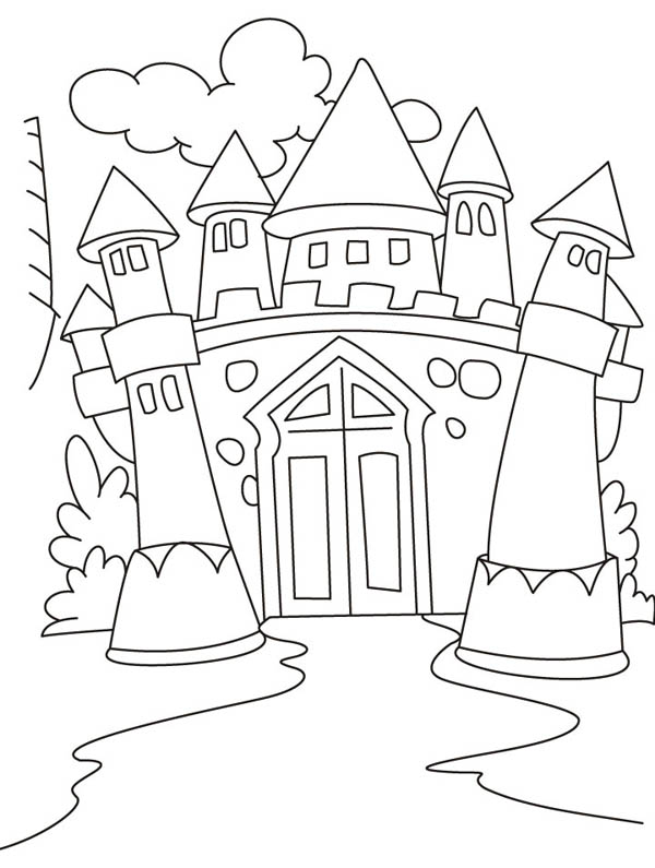 Medieval Castle, : Awesome Drawing Medieval Castle Coloring Page