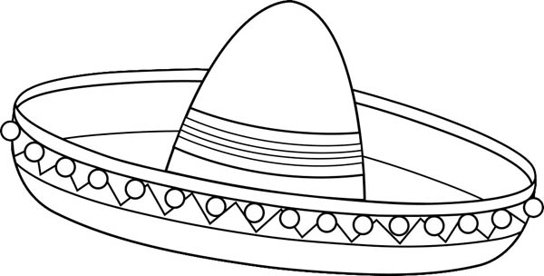 Mexican Fiesta, : Awesome Mexican Sombrero for Mexican Fiesta Coloring Page