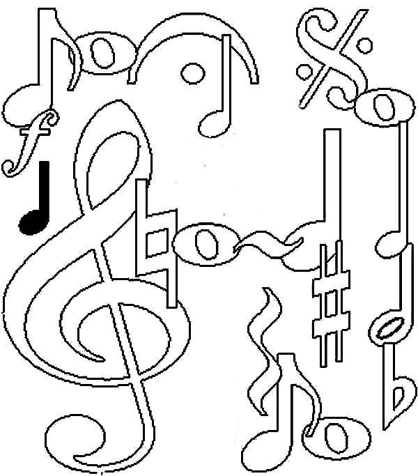 Music Notes, : Awesome Music Notes Coloring Page