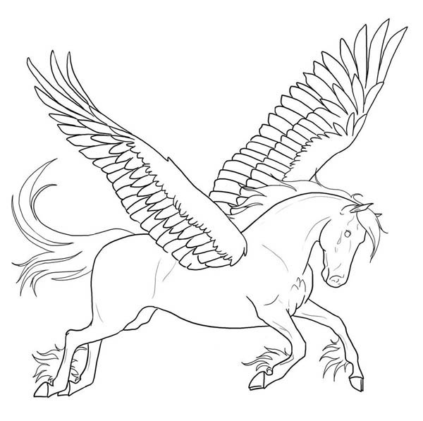 Pegasus, : Awesome Pegasus Coloring Page