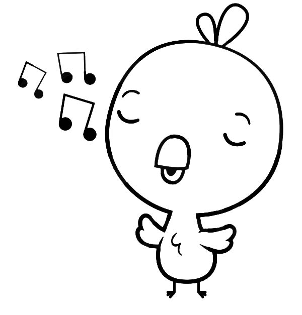 Baby Chick, : Baby Chick Singing Coloring Page