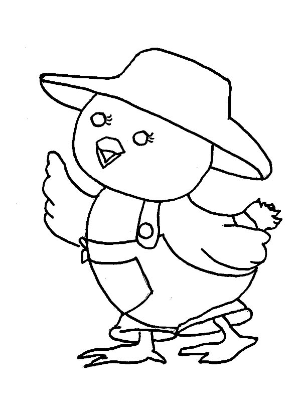Baby Chick, : Baby Chick Wearing Farmer Clothes Coloring Page