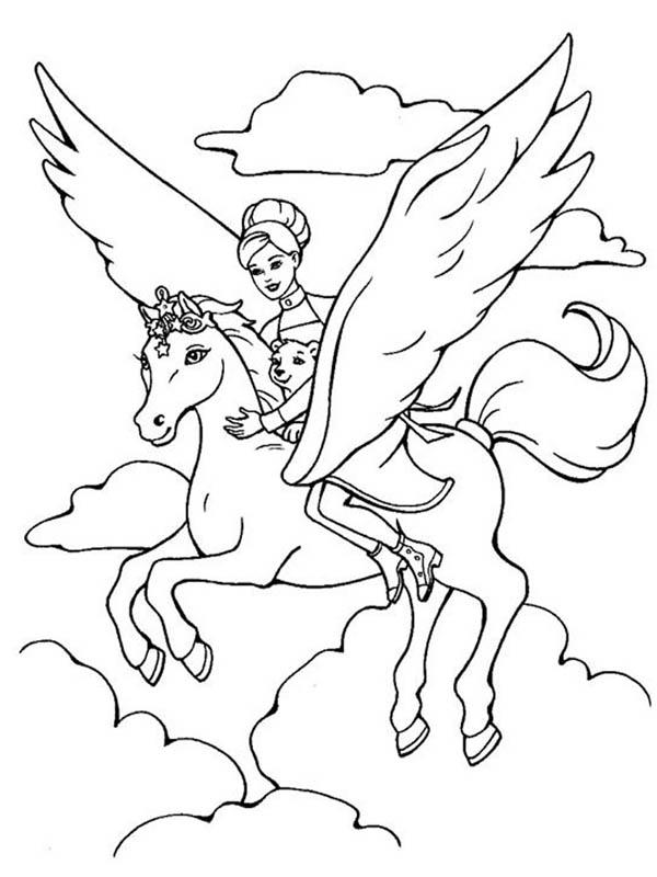Pegasus, : Barbie Ride The Magical Pegasus Coloring Page