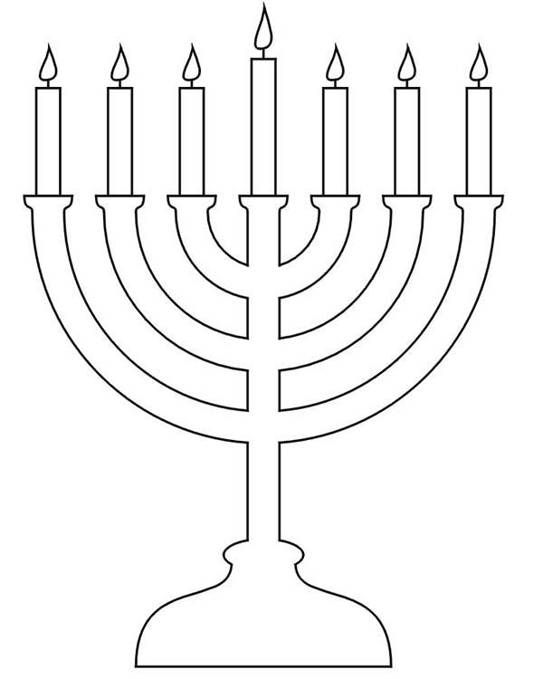 Chanukah, : Beautiful Chanukah Menorah Coloring Page