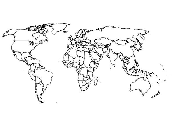 World Map, : Best World Map Coloring Page